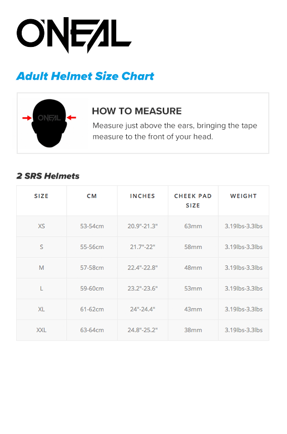 Oneal 2srs helmets size guide