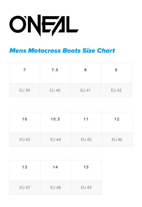 Oneal Mens MX Boots Size chart