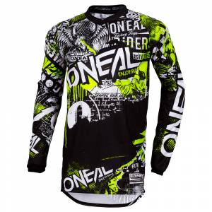 ONeal Element Attack Black Neon Yellow Motocross Jersey