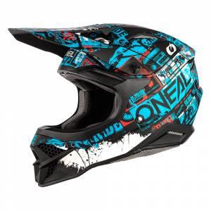 ONeal 3 Series Ride Black Blue Motocross Helmet