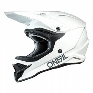 ONeal 3 Series Solid White Motocross Helmet
