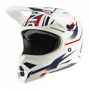ONeal 3 Series Riff 2.0 White Blue Motocross Helmet