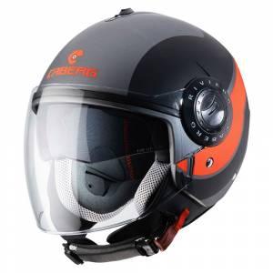 Caberg Riviera V3 Sway Matt Gunmetal Black Orange Open Face Helmet