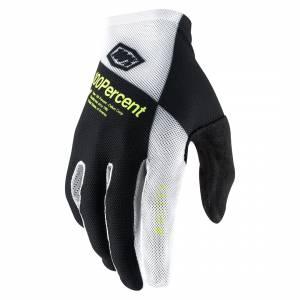 100% Celium Black White Fluo Yellow Motocross Gloves