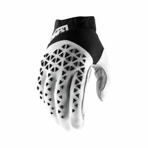100% Airmatic Black White Silver Motocross Gloves
