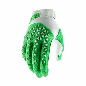 100% Airmatic Silver Fluo Lime Motocross Gloves
