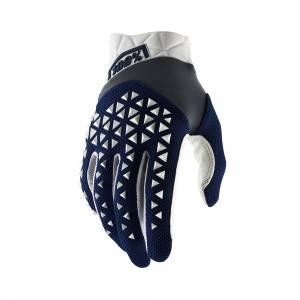 100% Airmatic Navy Steel White Motocross Gloves