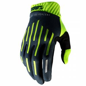 100% Ridefit Yellow Charcoal Motocross Gloves