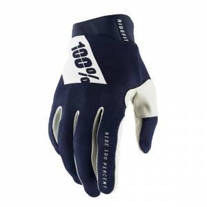 100% RideFit Navy White Motocross Gloves