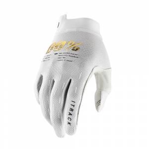 100% iTrack White Motocross Gloves