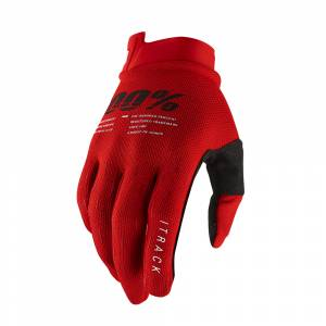 100% iTrack Red Motocross Gloves