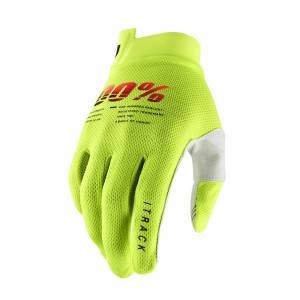 100% iTrack Fluo Yellow Motocross Gloves