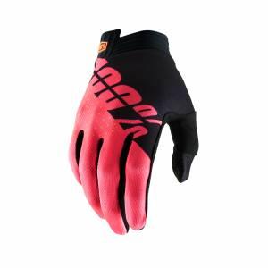 100% iTrack Black Fluo Red Motocross Gloves