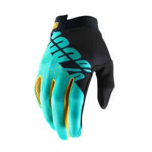 100% iTrack Black Aqua Motocross Gloves