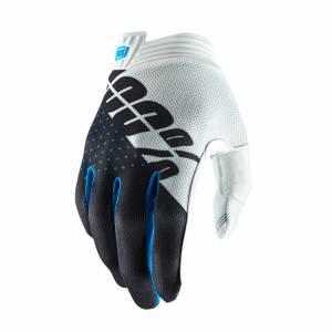 100% iTrack White Steel Grey Motocross Gloves