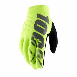 100% Kids Brisker Fluo Yellow Cold Weather Motocross Gloves