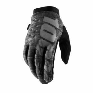 100% Brisker Heather Grey Cold Weather Motocross Gloves