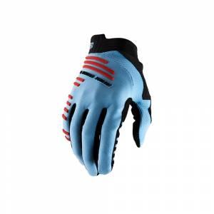 100% R-Core Light Blue Fluo Red Motocross Gloves