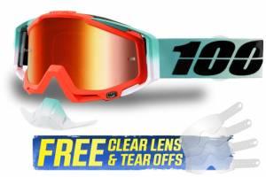 100% Racecraft Cubica Red Mirror Lens Motocross Goggles