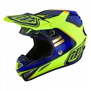 Troy Lee Designs SE4 Composite Flash Yellow Blue Motocross Helmet