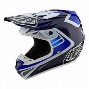 Troy Lee Designs SE4 Carbon Flash Blue White Motocross Helmet