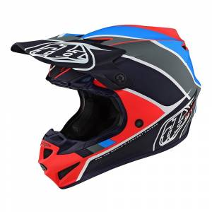 Troy Lee Designs SE4 Polyacrylite Beta Orange Navy Motocross Helmet
