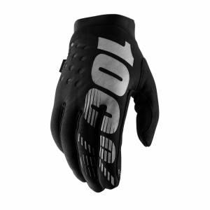 100% Brisker Black Grey Women's Cold Weather Motocross Gloves