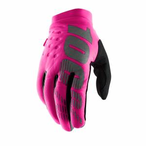 100% Brisker Neon Pink Black Women's Cold Weather Motocross Gloves