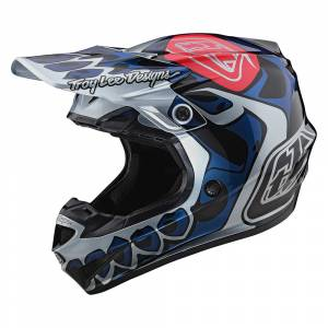 Troy Lee Designs Kids SE4 Polyacrylite Skully Silver Motocross Helmet