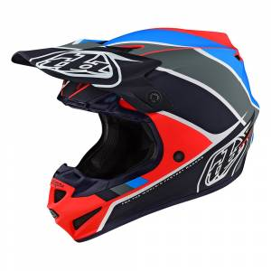 Troy Lee Designs Kids SE4 Polyacrylite Beta Fluo Red Navy Motocross Helmet