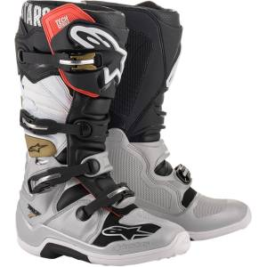 Alpinestars Tech 7 Black Silver White Gold Motocross Boots