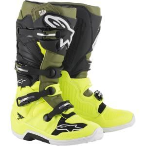 Alpinestars Tech 7 Yellow Fluo Military Green Black Motocross Boots