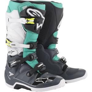 Alpinestars Tech 7 Dark Grey Teal White Motocross Boots