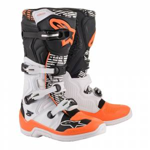 Alpinestars Tech 5 White Black Orange Fluo Motocross Boots