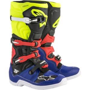 Alpinestars Tech 5 Blue Black Yellow Fluo Red Motocross Boots