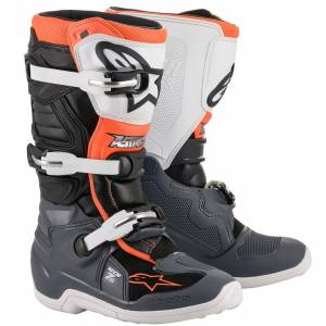 Alpinestars Kids Tech 7S Black Grey White Orange Fluo Motocross Boots