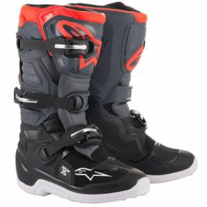 Alpinestars Kids Tech 7S Black Dark Grey Fluo Red Motocross Boots
