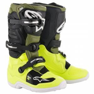 Alpinestars Kids Tech 7S Fluo Yellow Military Green Black Motocross Boots