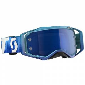 Scott Prospect Blue White Electric Blue Chrome Lens Motocross Goggles