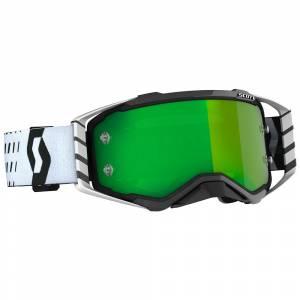 Scott Prospect Black White Green Chrome Lens Motocross Goggles