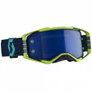 Scott Prospect Blue Yellow Electric Blue Chrome Lens Motocross Goggles