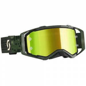 Scott Prospect Kaki Green Yellow Chrome Lens Motocross Goggles