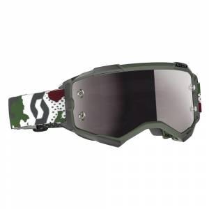 Scott Fury Dark Green White Silver Chrome Lens Motocross Goggles