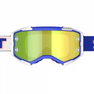 Scott Fury White Blue Yellow Chrome Lens Motocross Goggles