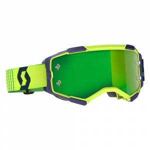 Scott Fury Blue Yellow Green Chrome Lens Motocross Goggles