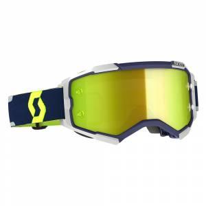 Scott Fury Blue Grey Yellow Chrome Lens Motocross Goggles