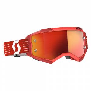 Scott Fury Bright Red Orange Chrome Lens Motocross Goggles