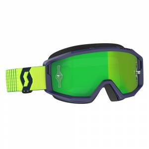 Scott Primal Blue Yellow Green Chrome Lens Motocross Goggles