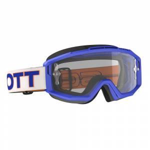 Scott Split White Blue Clear Lens OTG Motocross Goggles