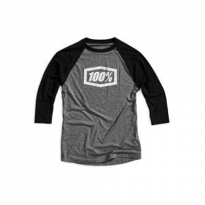 100% Essential Three Quarter Tech Black Grey T-Shirt